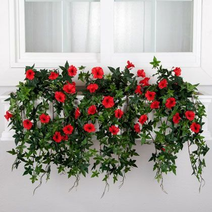 Window Boxes with Artificial Plants & Flowers