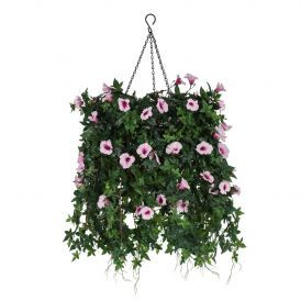 """12"""" Hanging Basket with Artificial Morning Glory Flowers - 5 Colors"""