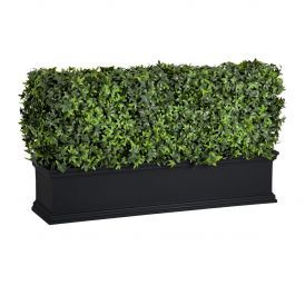 Laguna Fiberglass Planter with Outdoor Artificial Hedge