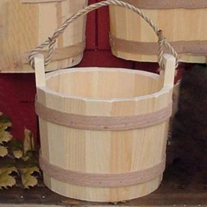 10in. Decorative Pine Bucket w/ Rope Handle - Natural, Unfinished