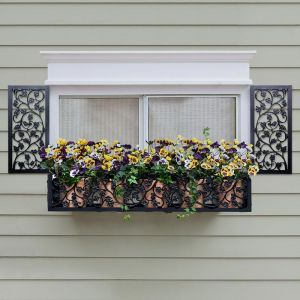 10in. Wide Sonoma Ivy Aluminum Decorative Shutters in Black - Pair