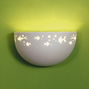 "12""  Ceramic Bowl Sconce w/ Fish"