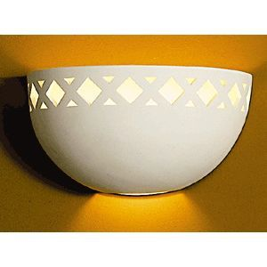 "12"" Diamond Bordered Clean Bowl Sconce"