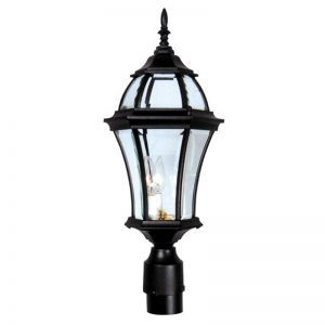 Parkridge Line Voltage Post Light Fixture- Black