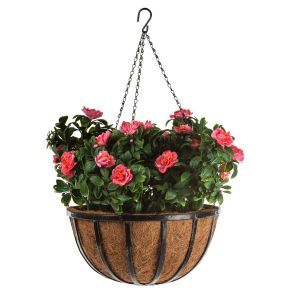 "12"" Hanging Basket with Artificial 3 Azalea Plants - 4 options"