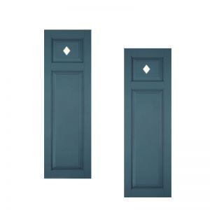12in. Wide - Designer Collection Raised Two Unequal Panel Fiberglass Exterior Shutters (pair)