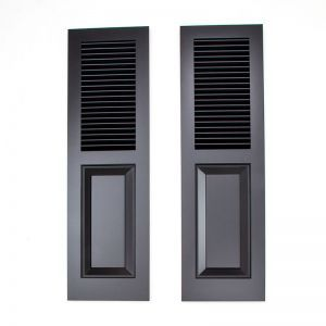 12in. Wide - Cedar Combination Louvered over Panel Exterior Shutters (pair)