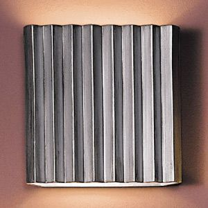 "13"" Silver Steel Corrugated Wall Sconce - Vertical Pattern"
