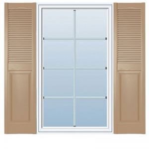 14 1/2in. Wide Cathedral Top - Vinyl Combination Louvered over Panel Exterior Shutters (Custom Product) - Pair