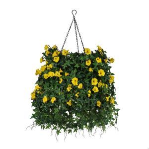 "14"" Hanging Basket with Artificial Morning Glory Flowers - 4 Colors"