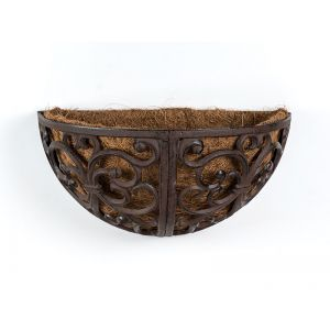"14"" Antique Brown Nashville Wall Planter w/Coco Liner"