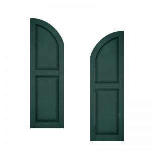 15in. Wide - Architectural Collection Raised 2 Equal Panel Shutters w/ Arched Top (pair)