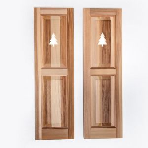 12in. Wide Cedar Two Equal Panel Design - Exterior Shutter Pair