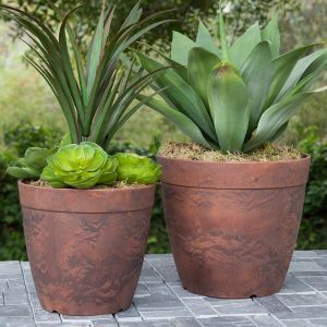 16in. Durante Round Flower Pot - Teak