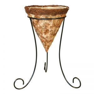 14in. Larkwood Pressed Leaf Cone Basket with Tripod Stand