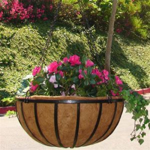 "18"" English Garden Flat Steel Hanging Basket with Coco Liner and Chain"