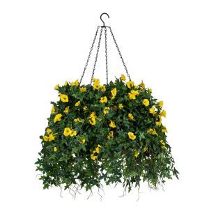 "22"" Hanging Basket with Artificial Morning Glory Flowers - 4 Colors"