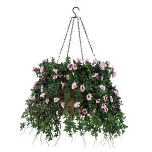 "18"" Hanging Basket with Artificial Morning Glory Flowers - 5 Colors"