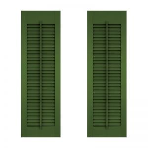 18in. Wide - Architectural Collection Fixed Louvered Composite Fiberglass Shutters w/ Faux Tilt Rod (Pair)