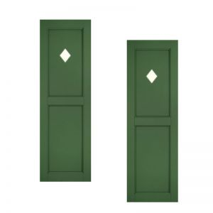 18in. Wide - Designer Collection Raised Two Equal Panel Fiberglass Exterior Shutters (pair)