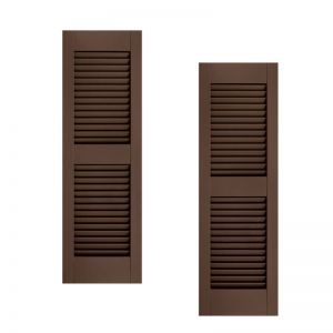 18in. Wide w/ Center Rail - Architectural Collection Fixed Louvered Composite Fiberglass Shutters (pair)