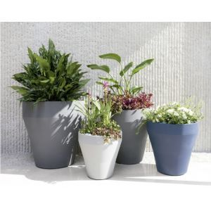 Rimmed Self-Watering Tapered Planter - Choose from 4 Sizes and 9 Colors