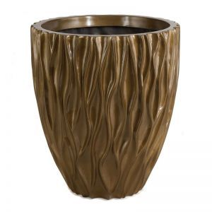 16 inch Tall Pauline Fiberglass Round Planter - Metallic Gold/Brown