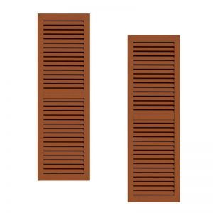 21in. Wide - Classic Collection 2 Panel Faux-Louvered Wood Composite Shutters (pair)