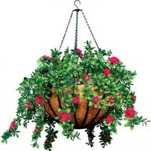 "22"" Hanging Basket with 5 Artificial Azalea Plants - 3 Colors"