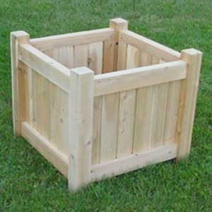 24in. Square Cedar Slatted Planter