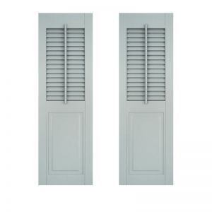 18in. Wide -Architectural Collection Combination Shutters w/ Faux Tilt Rod (Pair)