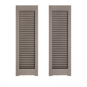 21in. Wide - Architectural Collection Single Panel Louvered Shutters w/ Horns (Pair)