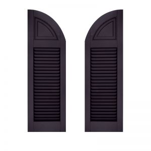 18in. Wide - Architectural Collection Solid Arched Top Louvered Shutters (Pair)