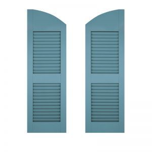 18in. Wide - Architectural Collection Solid Arched Top w/ Center Rail Louvered Shutters (Pair)
