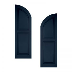 21in. Wide - Classic Collection Raised 2 Equal Panel Shutters w/ Arched Top (pair)
