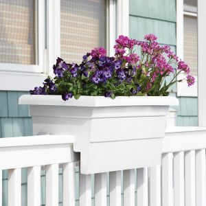 "16"" Countryside Railing Planter - White"