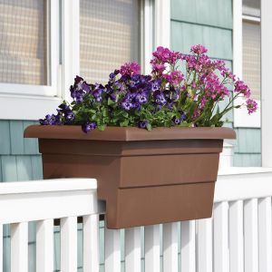 "24"" Countryside Railing Planter - Brown"