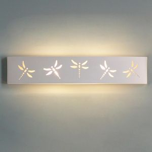 "27.5"" Rectangular Bathroom Light  w/ Dragonfly Motif"