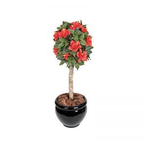 3.5' Outdoor Artificial Hibiscus Ball Topiary