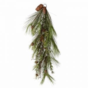 32in. Artificial Timbercove Teardrop Wreath w/ Pine Cones and Cedar