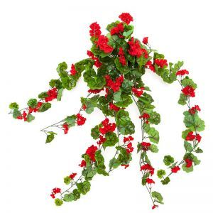 "30"" Red Geranium Hanging Vine, Outdoor Rated"