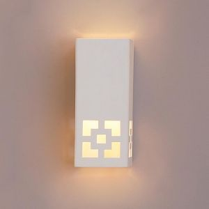 "6.5"" Ceramic Block Sconce w/ Contemporary Cut Out"