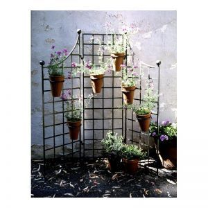 60in.W x 60in.H Iron Garden Screen with (6) 8in. Flower Pot Holders