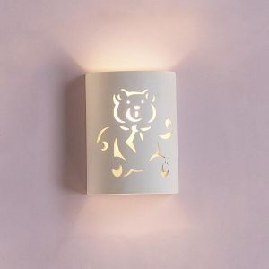 "7""  Ceramic Cylinder Wall Sconce w/ Teddy Bear"