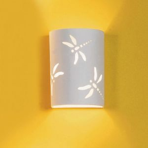 """7"""" Dragonfly Themed Ceramic Wall Sconce"""