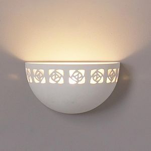"9.5""  Deep Bowl Ceramic Wall Sconce w/ Contemporary Band"