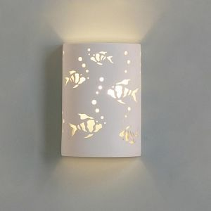 "9""  Ceramic Cylinder Sconce w/ Beta Fish & Bubbles"