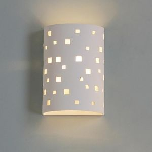 """9""""  Ceramic Cylinder Sconce w/ Contemporary Square Pattern"""