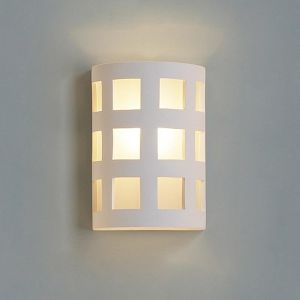 """9""""  Ceramic Cylinder Wall Sconce w/ Large Square Pattern"""