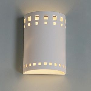 """9"""" Contemporary Block Pattern Cylinder Sconce"""